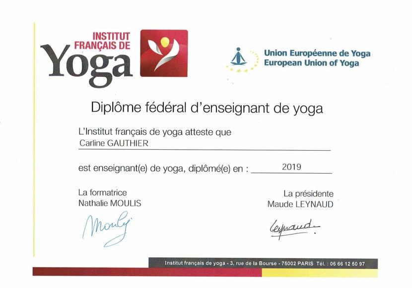Diplome Yoga IFY - Carline-Gauthier-Borel